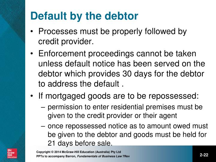 Default by the debtor
