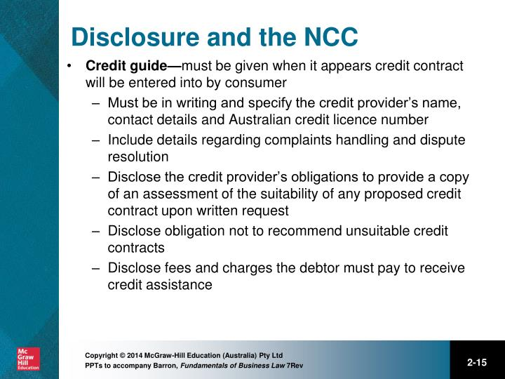 Disclosure and the NCC