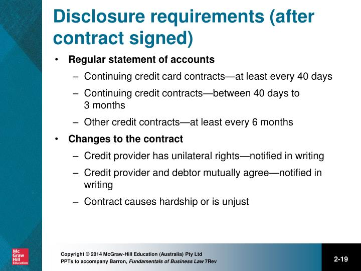 Disclosure requirements (after contract signed)