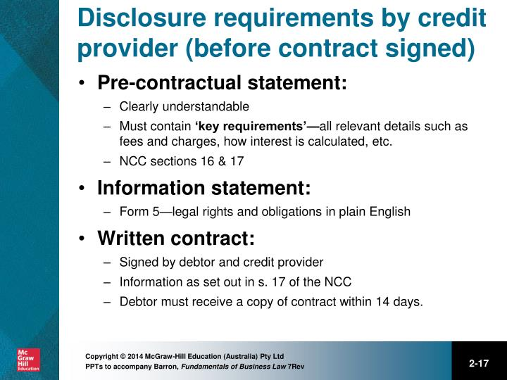 Disclosure requirements by credit provider (before contract signed)