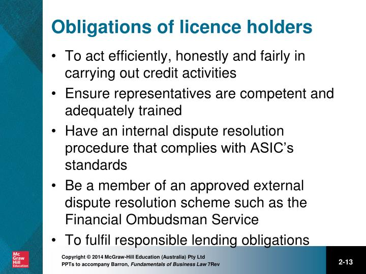 Obligations of licence holders