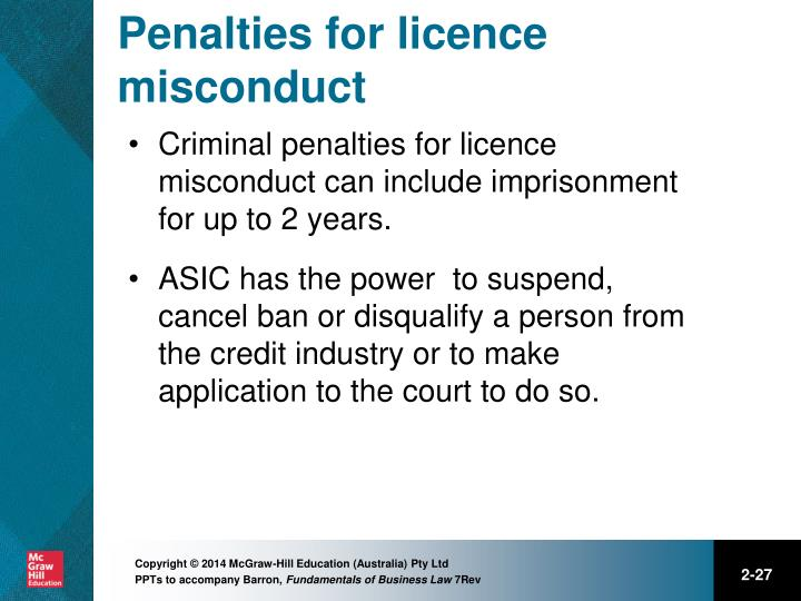 Penalties for licence misconduct