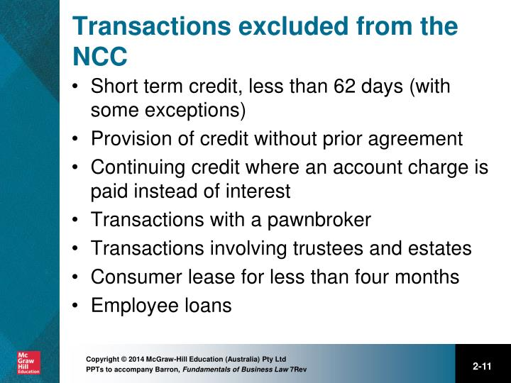 Transactions excluded from the NCC