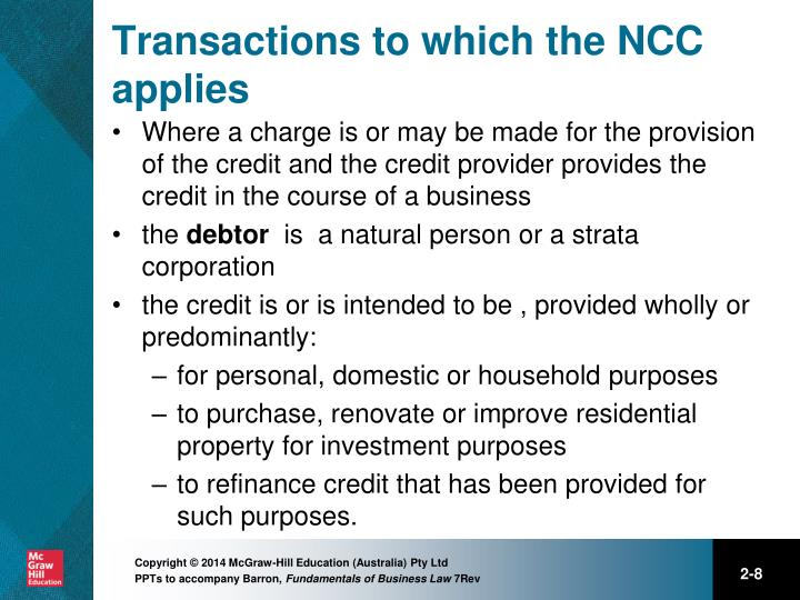Transactions to which the NCC applies