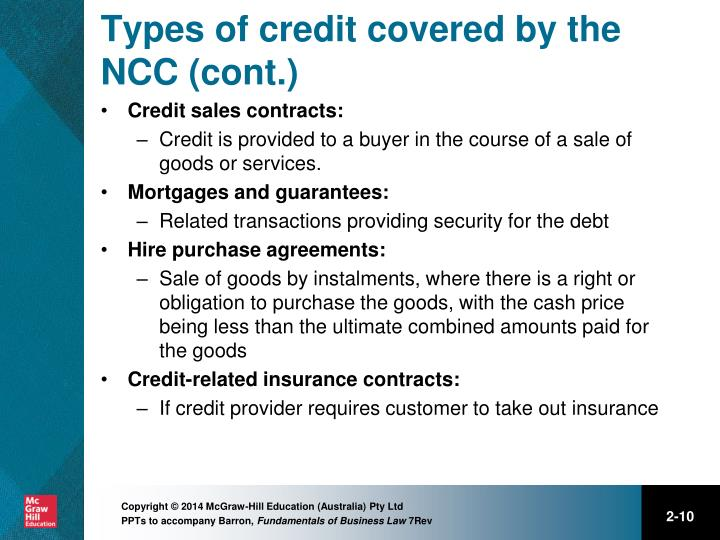 Types of credit covered by the NCC (cont.)