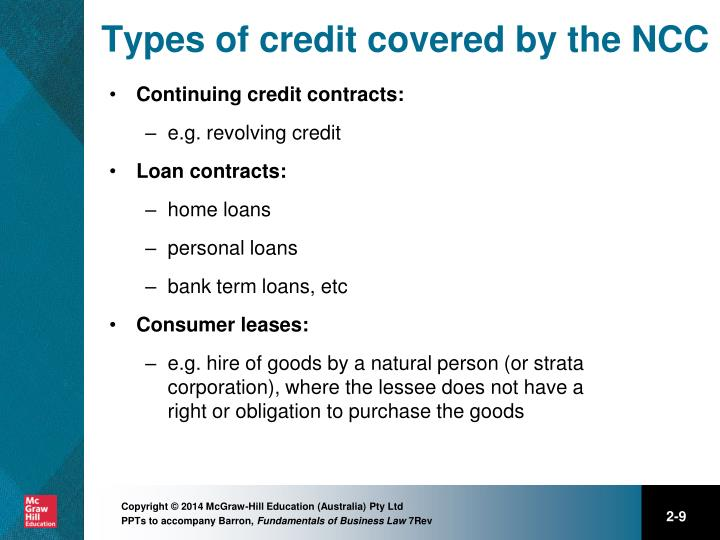 Types of credit covered by the NCC