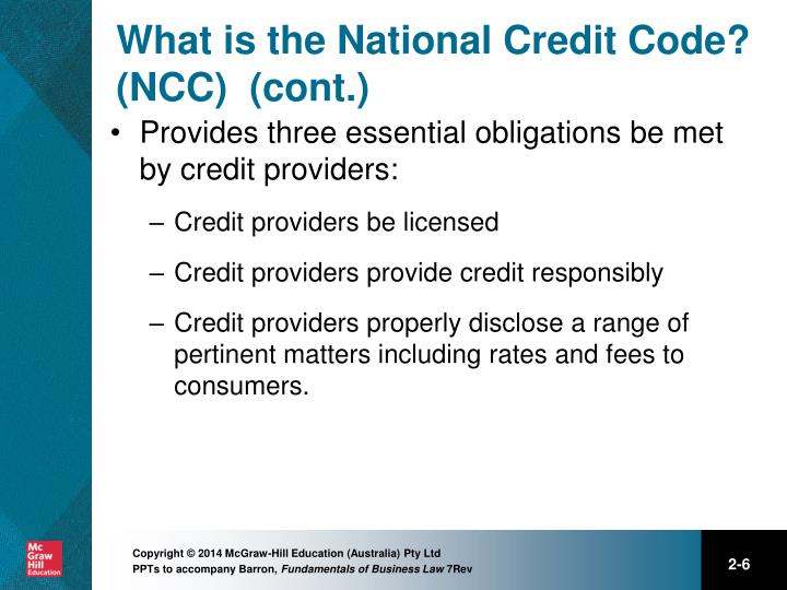 What is the National Credit Code? (NCC)  (cont.)