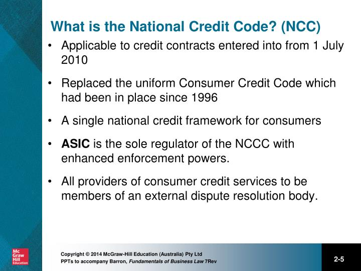 What is the National Credit Code? (NCC)