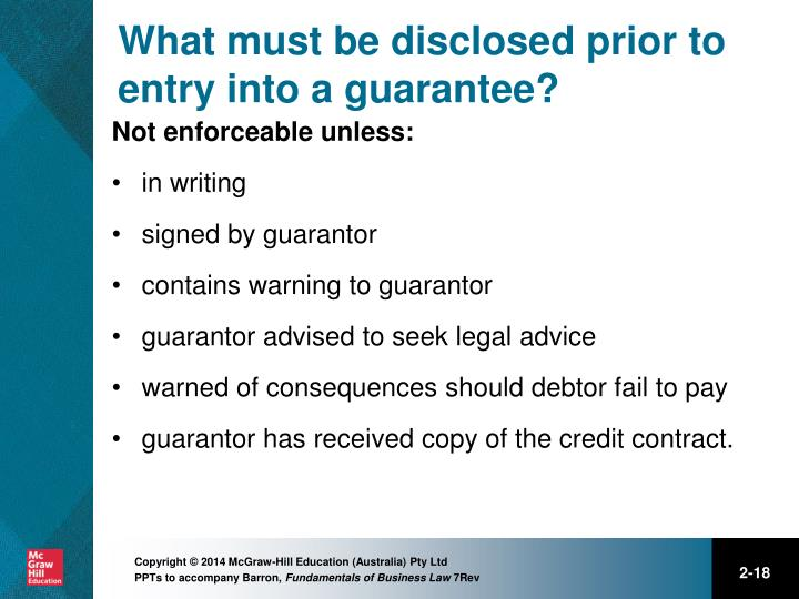 What must be disclosed prior to entry into a guarantee?