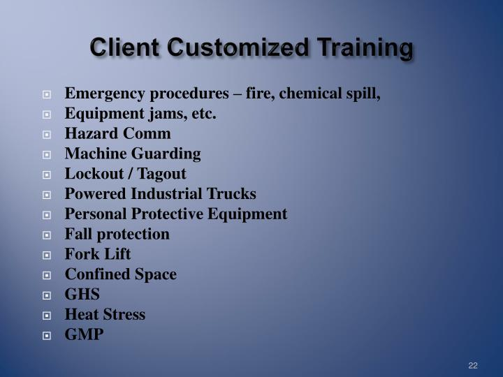 Client Customized Training