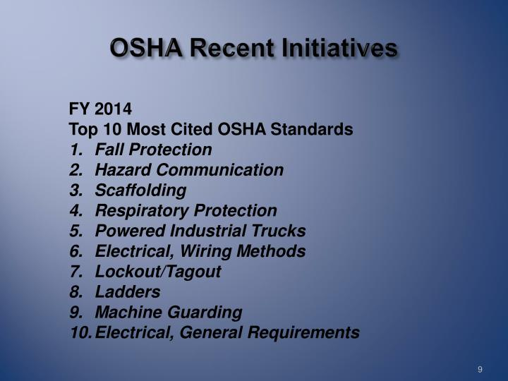 OSHA Recent Initiatives