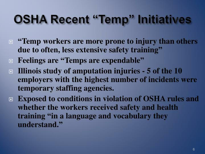 "OSHA Recent ""Temp"" Initiatives"