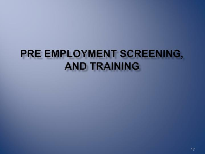 Pre Employment Screening,
