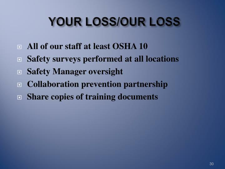 YOUR LOSS/OUR LOSS