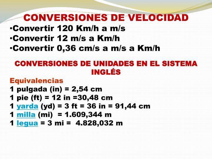 CONVERSIONES DE VELOCIDAD