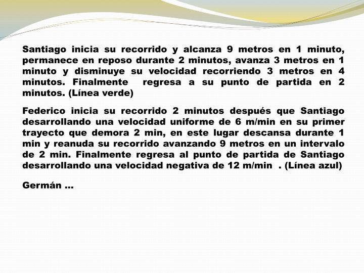 Santiago inicia su recorrido y alcanza 9 metros en 1 minuto, permanece en reposo durante 2 minutos, avanza 3 metros en 1 minuto y disminuye su velocidad recorriendo 3 metros en 4 minutos. Finalmente  regresa a su punto de partida en 2 minutos. (Línea verde)