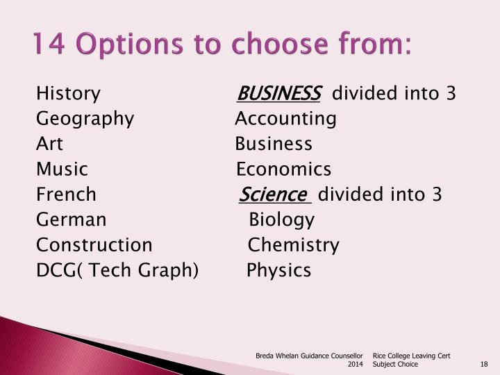 14 Options to choose from: