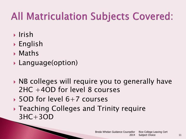 All Matriculation Subjects Covered: