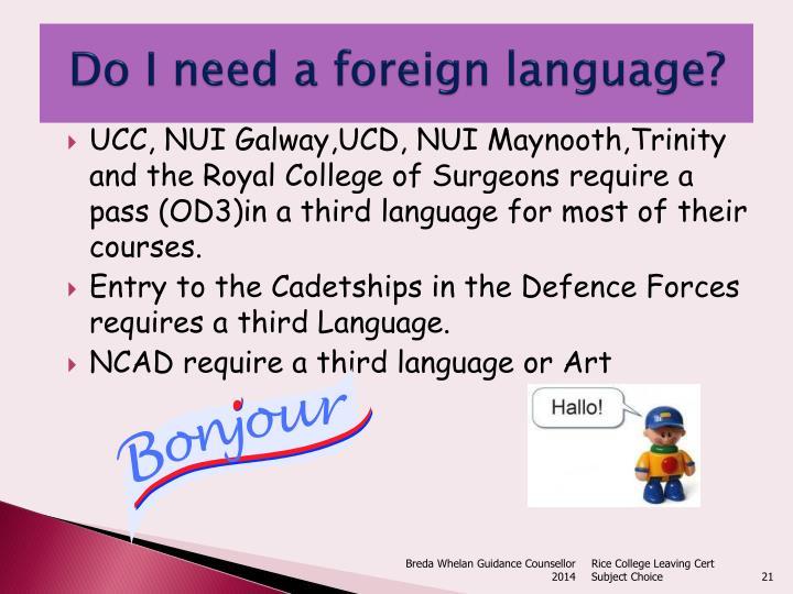 Do I need a foreign language?