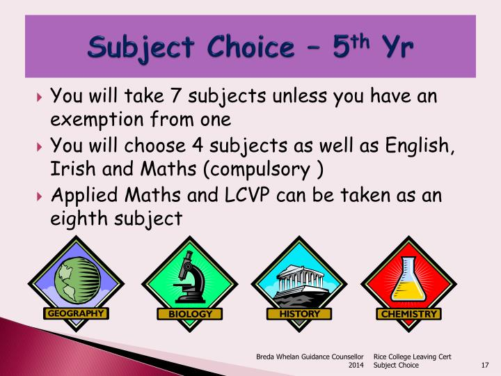 Subject Choice – 5