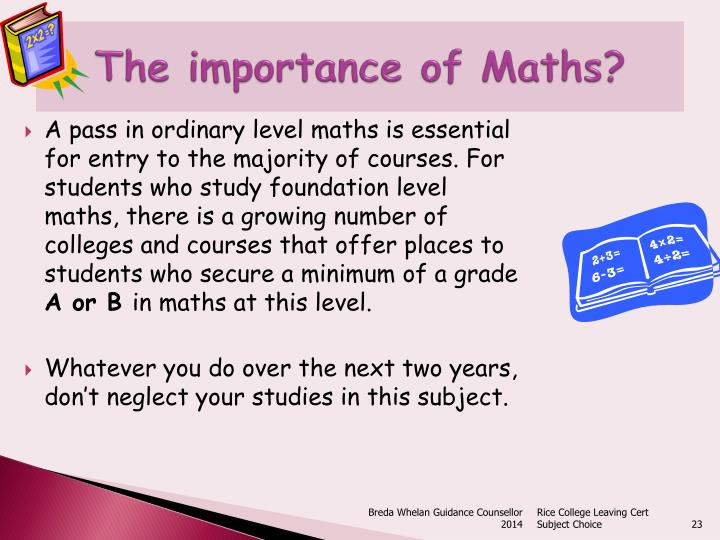 The importance of Maths?
