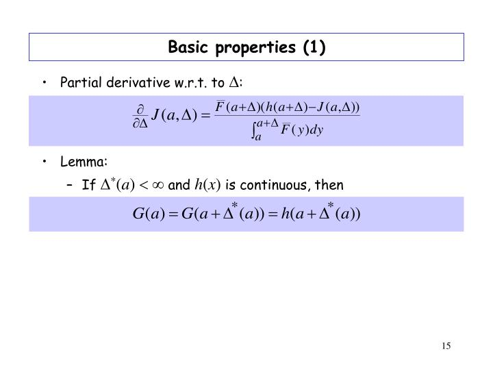 Basic properties (1)