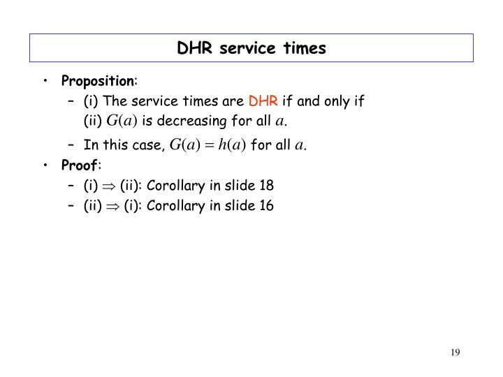 DHR service times