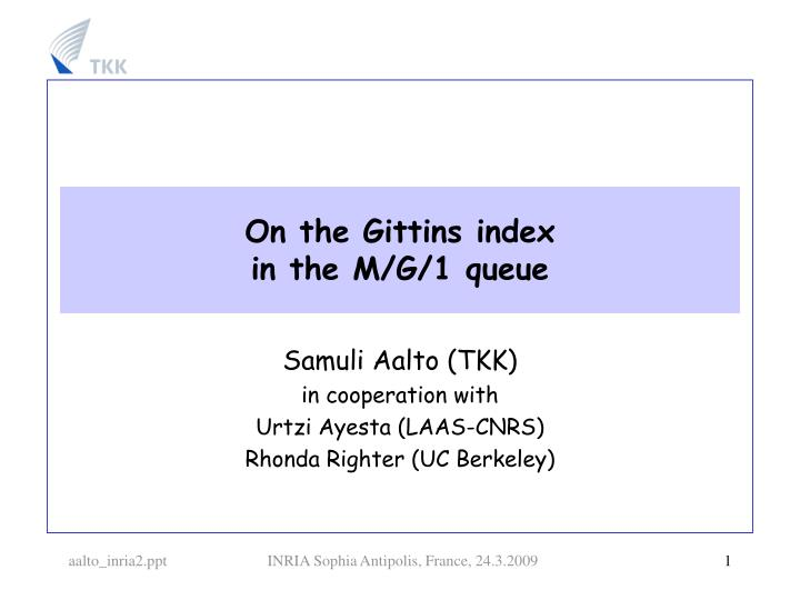 On the Gittins index
