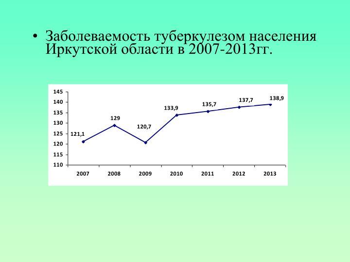 Заболеваемость туберкулезом населения Иркутской области в 2007-2013гг.