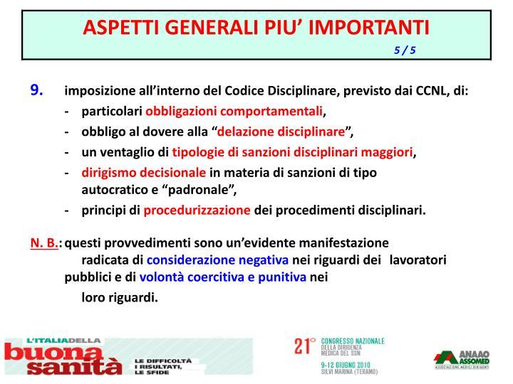 imposizione all'interno del Codice Disciplinare, previsto dai CCNL, di: