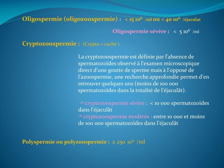 Oligospermie (oligozoospermie)