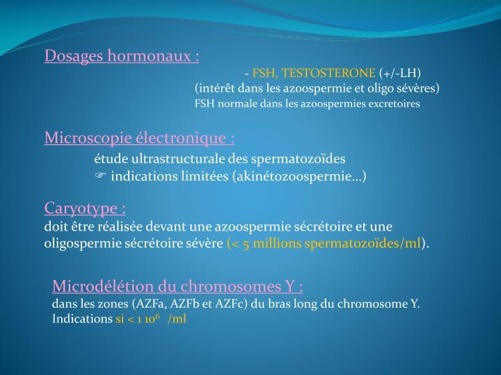 Dosages hormonaux :
