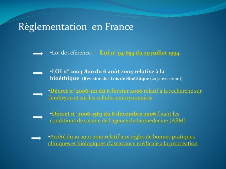 Règlementation  en France