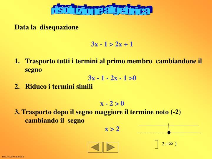 risoluzione algebrica
