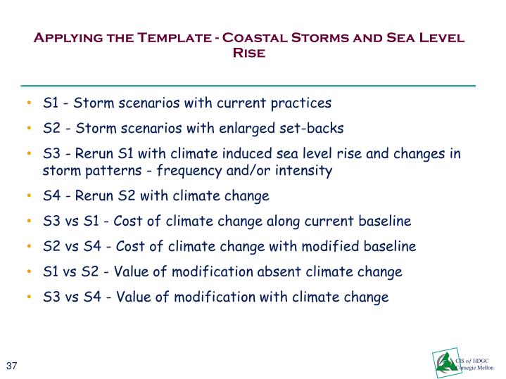 Applying the Template - Coastal Storms and Sea Level Rise