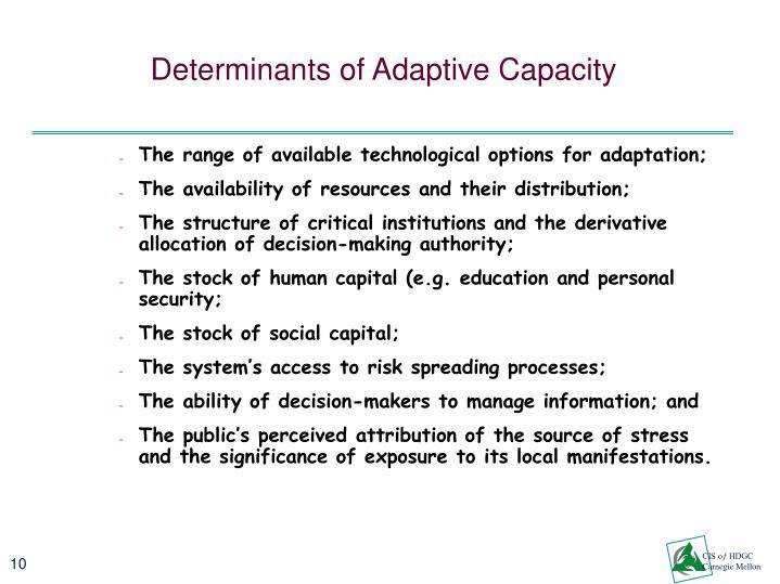 Determinants of Adaptive Capacity