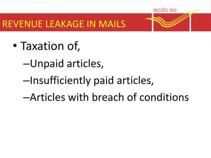 REVENUE LEAKAGE IN MAILS