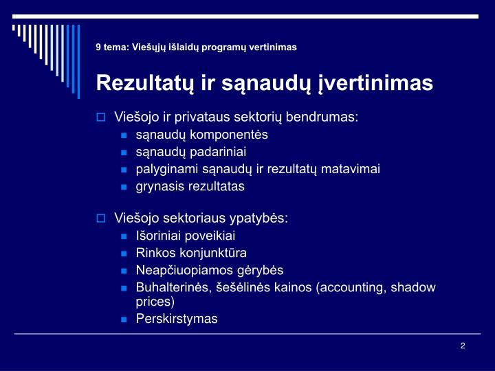9 tema: Viešųjų išlaidų programų vertinimas