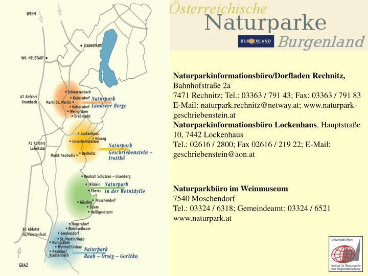 Naturparkinformationsbüro/Dorfladen Rechnitz,