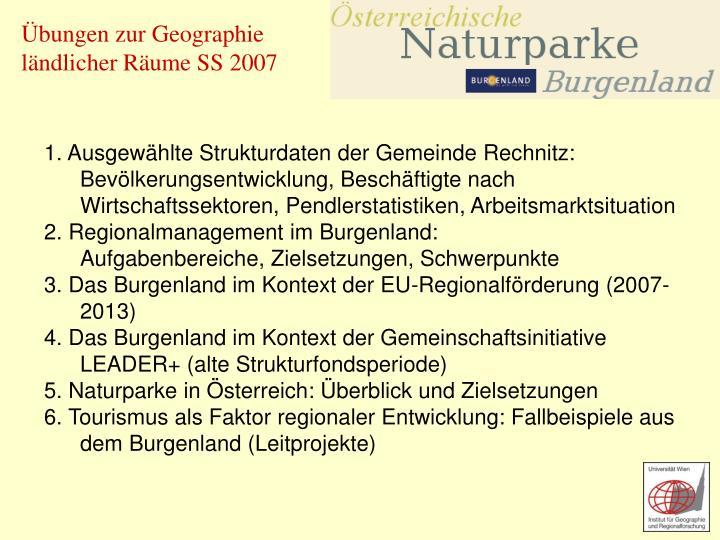 1. Ausgewählte Strukturdaten der Gemeinde Rechnitz: