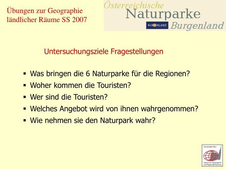 Was bringen die 6 Naturparke für die Regionen?