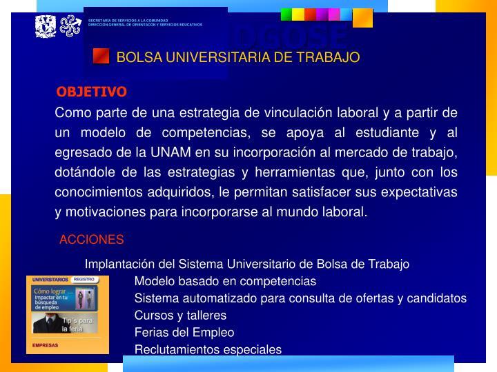 BOLSA UNIVERSITARIA DE TRABAJO