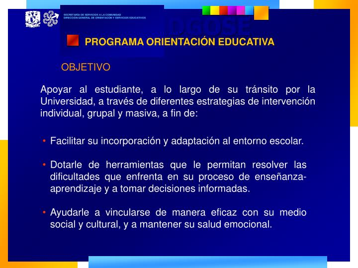 PROGRAMA ORIENTACIÓN EDUCATIVA