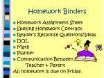 homework binders
