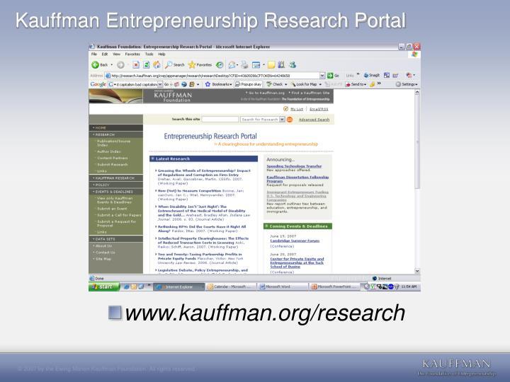 Kauffman Entrepreneurship Research Portal
