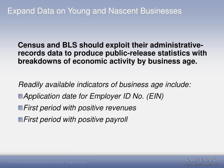 Expand Data on Young and Nascent Businesses