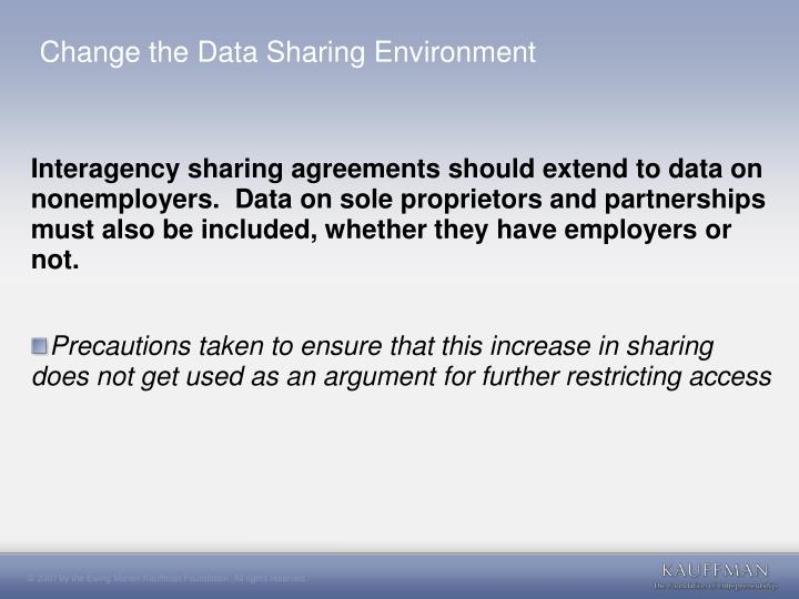 Change the Data Sharing Environment