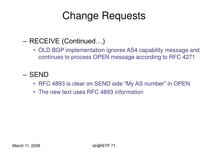 Change Requests