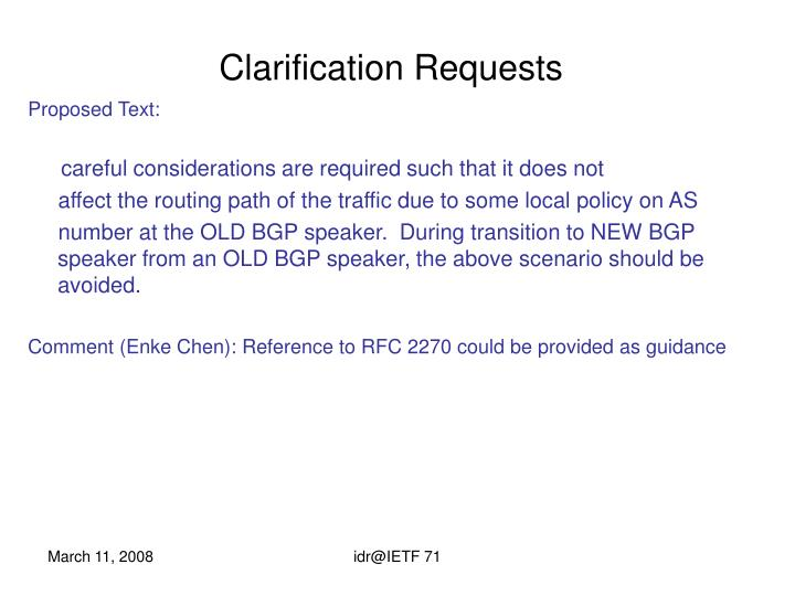 Clarification Requests