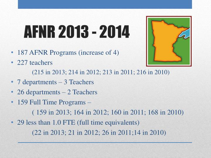 187 AFNR Programs (increase of 4)